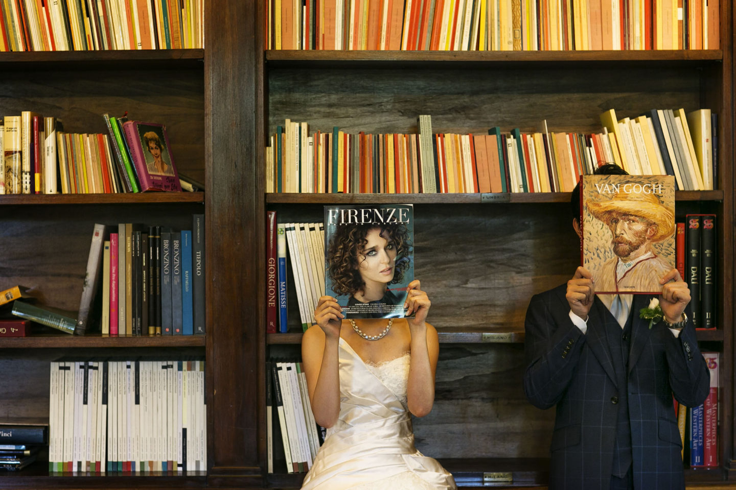 Library :: Bride and groom. Couple :: David Bastianoni wedding photographer
